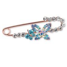 Double papillon broches été écharpe de Style robe vêtements Hijab Pins cristal insectes Broche belle bijoux cadeau pour les femmes BZ0065(China (Mainland))