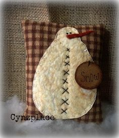 Cabin Snowman Pillow Tuck by cynzplace on Etsy