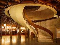 Awesome Hotel Kyjev in Bratislava. Sentenced to demolition. Architecture Details, Modern Architecture, Bratislava Slovakia, Retro Futurism, Stairways, Places To Go, City, Building, Foyers