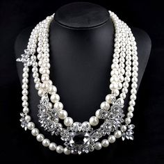 "Chunky Pearl Statement Necklace Stunning Chunky Pearl Statement Necklace  Length: 18""  Materials: Silver-tone Base Metals, Faux Pearls, Rhinestones, Resin, Nickel Free, Lead Free  Condition: New Jewelry Necklaces"