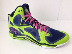 42af5cc1a859 Under Armour Micro G Anatomix Spawn Basketball Shoes NeonGreen Blue Size  11.5