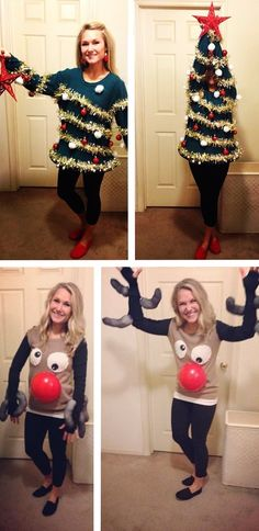 Homemade Ugly Christmas Sweaters || a Christmas tree and a Reindeer