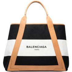 Balenciaga Navy Striped Canvas Cabas M ($1,095) ❤ liked on Polyvore featuring bags, handbags, tote bags, tote handbags, white canvas tote bag, navy tote, handbags totes and striped tote bag