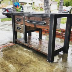 ****FREE SHIPPING**** Vintage Industrial Bathroom Vanity! Stunning worn gunmetal gray steel frame. Dark walnut wood planks compliment the steel perfectly! Drawer pulls and hardware are designed and made by me as well so this piece is 100% handmade and is truly one of a kind! CAN BE