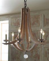 "Arteriors ""Manning"" wood chandelier - Horchow"