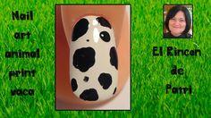 Diseño de uñas animal print vaca de El rincón de Patri Nail Art. Sigue todos nuestros diseños de decoración de uñas en http://www.rincondepatri.com Cow Animal Print Nail Art