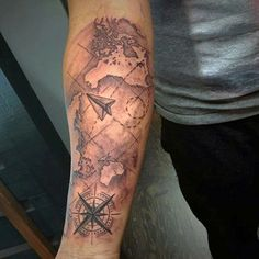Pin by maikol guerrero on tattoo ideas pinterest compass tattoo mens paper airplane world map forearm sleeve tattoo ideas gumiabroncs Choice Image