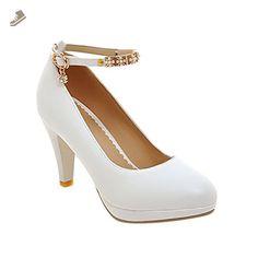 Latasa Women's Fashion Ankle-strap High Heels Dress Pumps (4.5, white) - Latasa pumps for women (*Amazon Partner-Link)