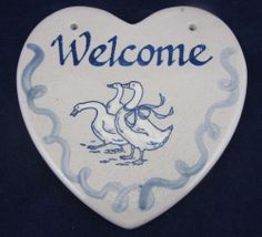 Louisville Stoneware Pottery Heart Welcome Plaque Sign Gaggle and Geese | eBay