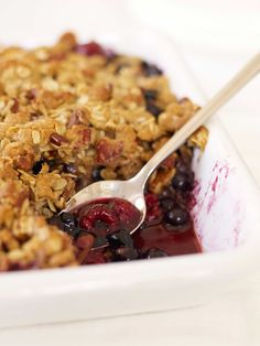 Blueberry-Raspberry Crisp #summer #inseason #berries #dessert