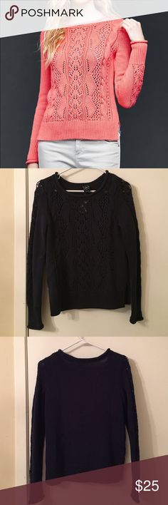 Gap pullover sweater NWT Navy gap pullover sweater. Very cute detailing. Light weight with lots of cute holes in the pattern. Perfect summer layer. This listing is for the navy pullover. Sweaters Crew & Scoop Necks