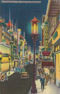 Vintage Graphics (chipteretia: A 1950s postcard view of Chinatown...)