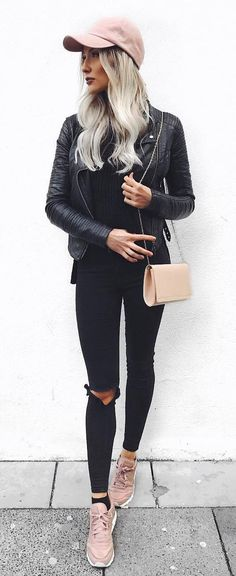 fall casual style : hat + jacket + black rips + bag + sneakers + top