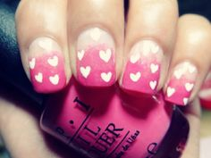 Nail Art de coração + Ombré Nail