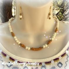 White and Tan Wood Rondelle bead Necklace and Earrings