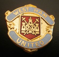 West Ham United Club Crest Football Brooch Pin Badge Blue Scroll