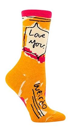 Blue Q Women's Novelty Crew Socks - Love You Weirdo (Womens Size with Sock Ring Silly Socks, Funny Socks, Crazy Socks, Happy Socks, My Socks, Cool Socks, Blue Q Socks, Nora, Quirky Fashion