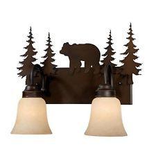 NEW 2 Light Rustic Bathroom Bear Vanity Lighting Fixture, Bronze, Amber Glass