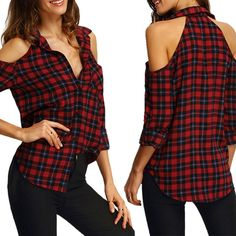 Fashion Blouse Women Long Sleeve Checks Plaids Off Shoulder Tops Shirts Clothes Cheap chemise femme, Buy Quality plaid shirt women directly from China blouses tops Suppliers: 2017 Ladies Female Casual Cotton Off shoulder Long Sleeve Plaid Shirt Women Slim Xl Shirt, Shirt Refashion, Shirt Blouses, Tops Boho, Long Sleeve Tops, Long Sleeve Shirts, Tartan Shirt, Plaid Shirts, Casual Shirts