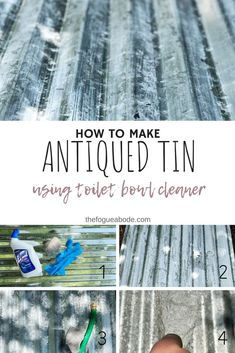 how to make antiqued tin using toilet bowl cleaner, diy antique tin, how to antique tin, how to distress tin, diy tin Crafts For Teens To Make, Diy And Crafts, Easy Crafts, Easy Diy, Dollar Store Crafts, Dollar Stores, Antique Wallpaper, Design Your Own Home, Diy Bar