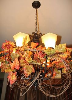 8 best thanksgiving decorations ideas images on pinterest autumn chandelier decorated for fall fall chandelier and decorating ideas happy fall aloadofball Image collections
