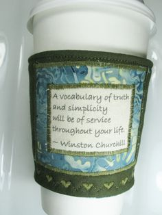 Great Gift for under $10 Coffee Cozy Winston Churchill Quote Coffee Zarf by CreamNoSugar, $9.50