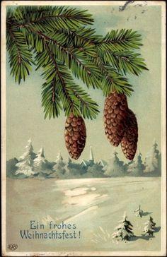 Präge Ak Fröhliche Weihnachten, Tannenzapfen im Winter | akpool.de