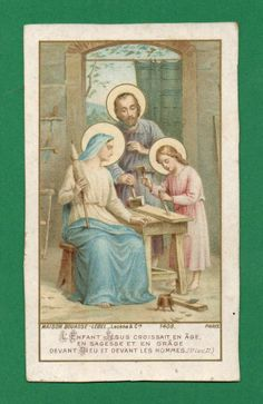 HOLY FAMILY WORKING Old BOUASSE HOLY CARD