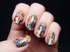 70's Style Polka Dot Floral Print by @chalkboardnails #31DC2014