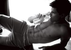 Taylor Lautner staying hydrated.