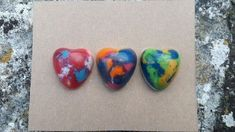 Marbled heart shaped wax crayons £3.00