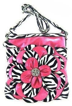Pink 3d Raised Flower Zebra Print Hipster Cross Body Messenger Purse (Pink),