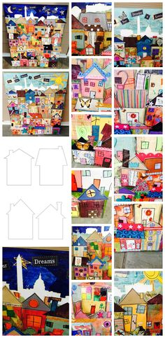 Looking for a class auction art project? This one is easy to do! Cut out house forms on white card stock. Then cut out some rectangles and triangles to fit the shapes. Let kids choose their own roofs, windows, doors, and such, and glue everything together with Mod Podge. We added ephemera from old books, felt, and other scrapbooking scraps for the kids to work with. Additional designs were added with oil pastels and Sharpie markers.