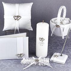 White Satin Interlocking Hearts Collection Wedding Accessories Set