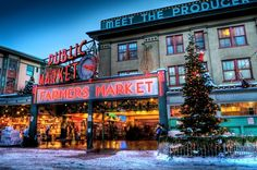 """Pike Place Market At Christmas"" by Jason Hoover, Seattle //  // Imagekind.com -- Buy stunning, museum-quality fine art prints, framed prints, and canvas prints directly from independent working artists and photographers."