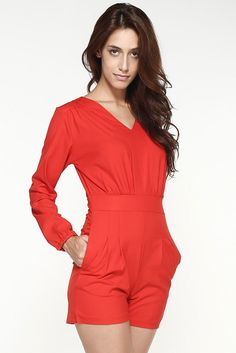 Cheap Red V Neckline Short Casual Jumpsuit online - All Products,Sexy Lingerie,Gown & Long Dress Red Jumpsuit, Casual Jumpsuit, Lingerie Gown, Sexy Lingerie, Sexy Gown, Jumpsuits For Women, Polyvore, Rompers, Club