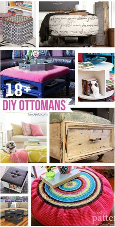 DIY Ottomans  | landeelu.com   A great roundup of awesome DIY ottoman ideas!