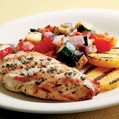 Grilled Chicken Ratatouille    Easy enough to do for a quick weeknight dinner but fancy enough to serve to guests, this recipe is sure to become a favorite in your entertaining repertoire. Make it before guests arrive and keep it warm in the oven. #low #carb #recipes for #dinner
