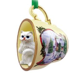 Persian White Cat Tea Cup Holiday Snowman