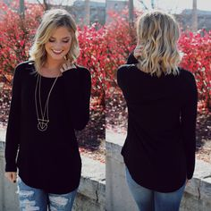 Black Long Sleeve Top – UOIOnline.com: Women's Clothing Boutique