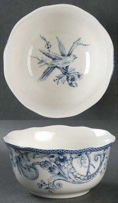 222 Fifth (PTS)Adelaide-Blue & White Soup/Cereal Bowl