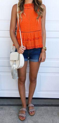 #Summer #Outfits / Gray Sandals + Denim Short Shorts