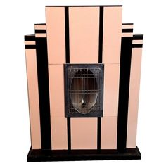 An opaline Deco heater, emulating a fireplace. Miami, 1930 ca.   From a unique collection of antique and modern architectural elements at https://www.1stdibs.com/furniture/building-garden/architectural-elements/