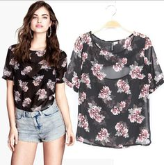 Spring New 2014 Ladies vintage retro floral print chiffon shirt blouse Women Summer sexy transparent Casual Brand designer Tops US $10.95