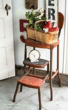 Vintage Restored Cosco Kitchen Step Stool Retro Mint Green