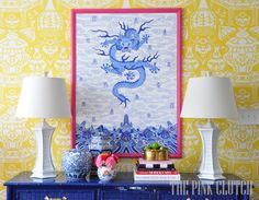 yellow and white chinoiserie wallpaper - Google Search