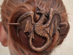 womens Wood Dragon Hair Barrette Gift for Her Hair by tangram77