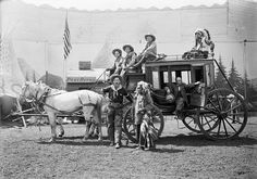 Erwin E. Smith and friends, performers with stage coach in Pawnee Bill's Wild West Show.
