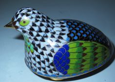 """Excited to share the latest addition to my #etsy shop: 5"""" Vintage Quail Partridge Bird Statue Figurine Cloisonne Trinket Box https://etsy.me/2IoxzGt #vintage #collectibles #gold #birthday #easter #quailpartridgebird #statuefigurine #vintagecloisonne #goldplated"""
