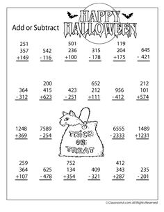 new halloween addition and subtraction worksheets 3 and 4 digit addition and subtraction worksheet classroom - Online Halloween Math Games